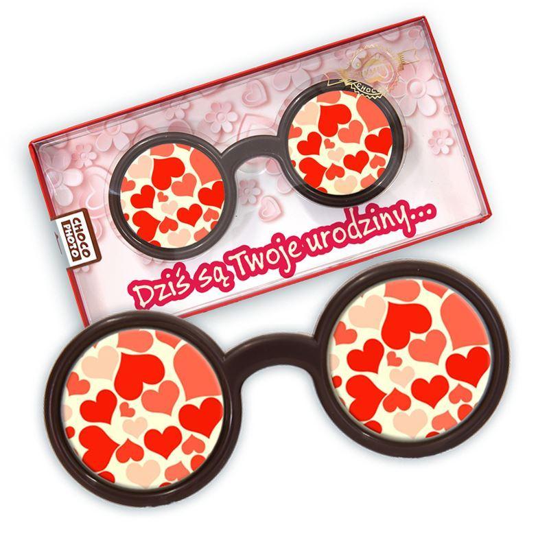 Czekoladowe okrągłe okulary na urodziny 50