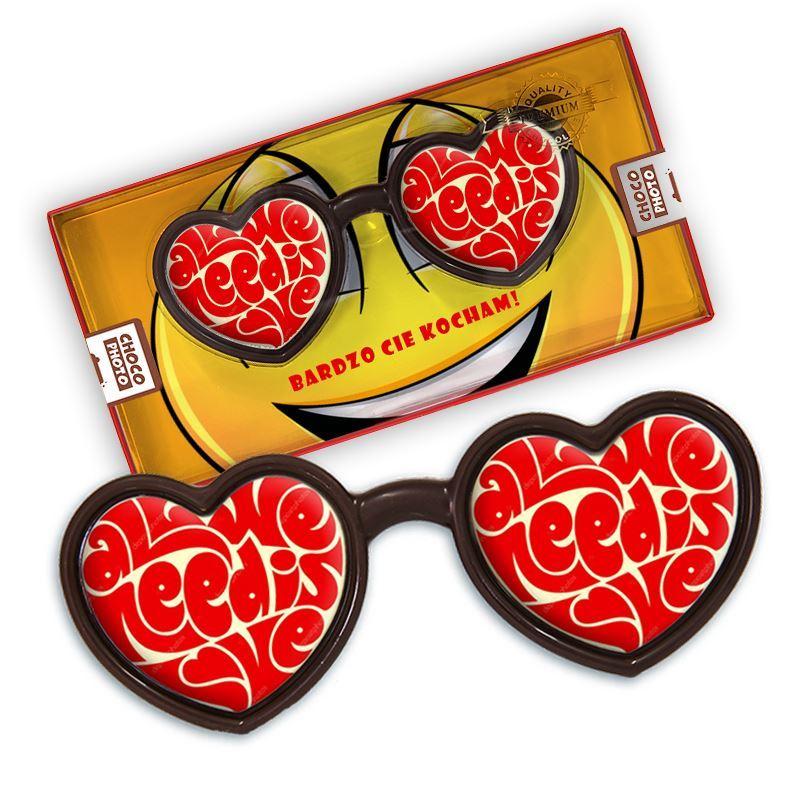 Czekoladowe okulary serdusko walentynki 50