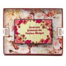 Czekoladowa kartka z życzeniami na wesele