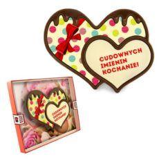 Podwójne czekoladowe serce na imieniny