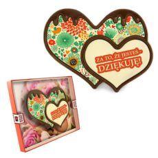 Dwa czekoladowe serca z podziękowaniami