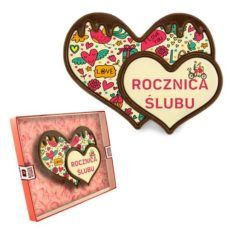 Podwójne serce z czekolady na rocznicę ślubu