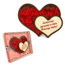 Romantyczne podwójne serce z czekolady na wesele