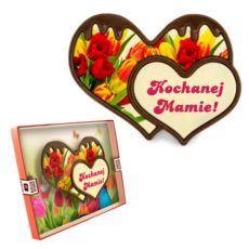 Dwa czekoladowe serca na Dzień Mamy z nadrukiem 100