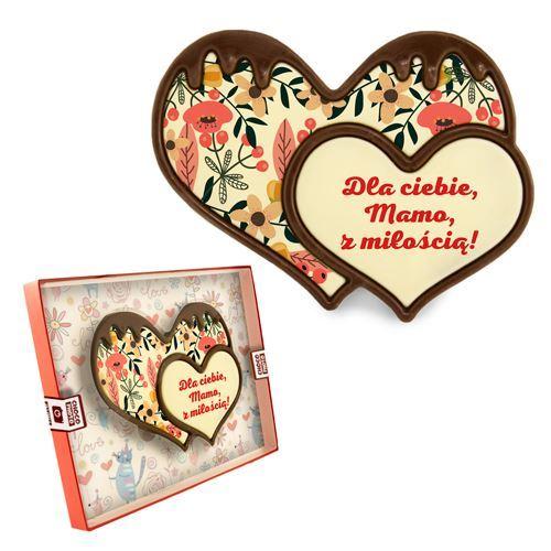 Serce z czekolady podwójne na dzień mamy 100