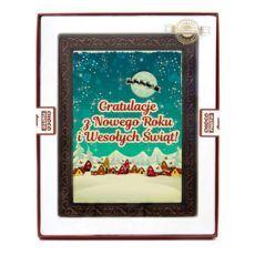 Czekoladowa kartka z gratulacjami na Boże Narodzenie i Nowy Rok