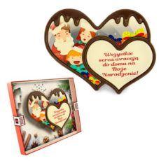 Podwójne serduszko z czekolady z okazji Świąt Bożego Narodzenia