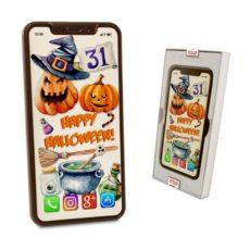 Życzenia na czekoladowym Iphonie X z okazji Halloween