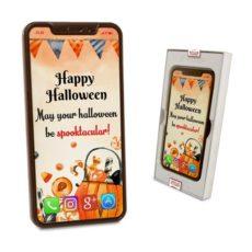 Czekoladowy Iphone X z życzeniami na Halloween