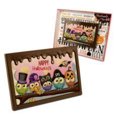 Zabawna tabliczka z czekolady z życzeniami na Halloween