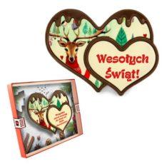 Świąteczne podwójne serce z czekolady z życzeniami bożonarodzeniowymi