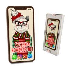 Czekoladowy Iphone XS Max z misiowymi życzeniami Noworocznymi