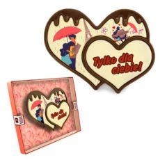 Dwa miłosne serca z czekolady na Walentynki