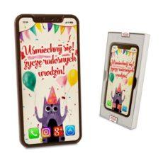 Czekoladowy  Smartfon z życzeniami na Urodziny