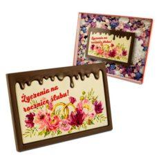 Kolorowo-czekoladowe życzenie na rocznicę ślubu