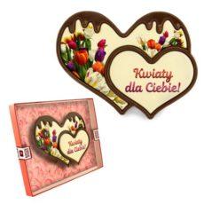Dwa czekoladowe serca z gratulacjami 100