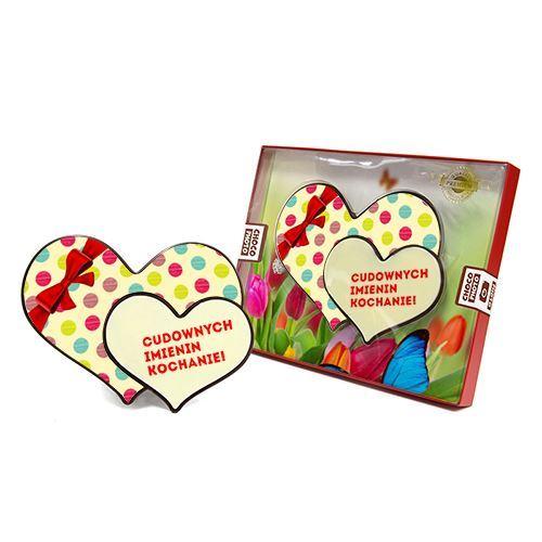 Serce z czekolady podwójne na urodziny 100