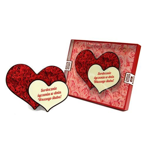 Serce z czekolady podwójne na wesele 100