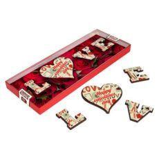 """Litery z czekolady """"LOVE"""" walentynka z nadrukiem"""